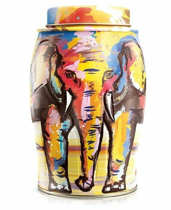 Painterly Summer Elephant Caddy - 40 English Breakfast Teabags 100g